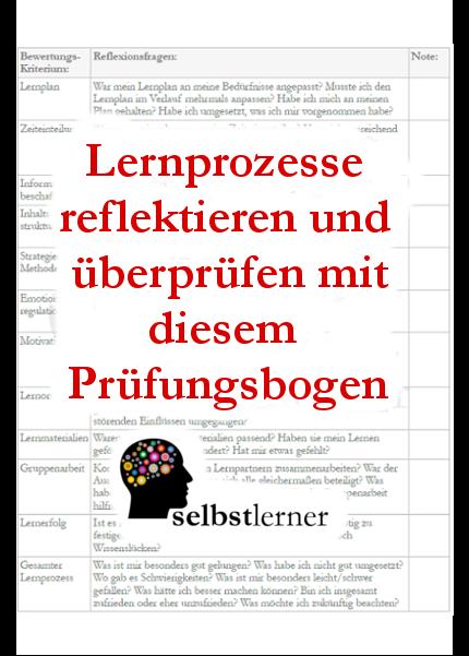 Tipps Zur Reflexion Und Uberprufung Von Lernprozessen Inkl Prufungsbogen Zum Ausdrucken Studieren Tipps Lernen Tipps