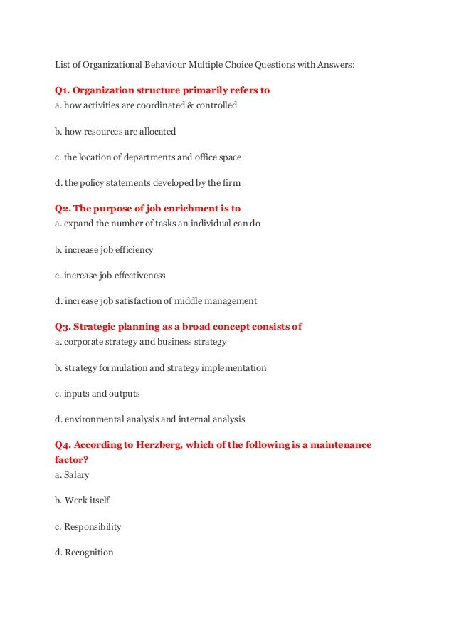 List Of Organizational Behaviour Multiple Choice Questions