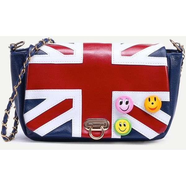 Shein Sheinside Blue Union Jack Patch Badge Detail Flap Bag 8 90 Liked On Polyvore Featuring Bags Handbags Shoulder Handbag