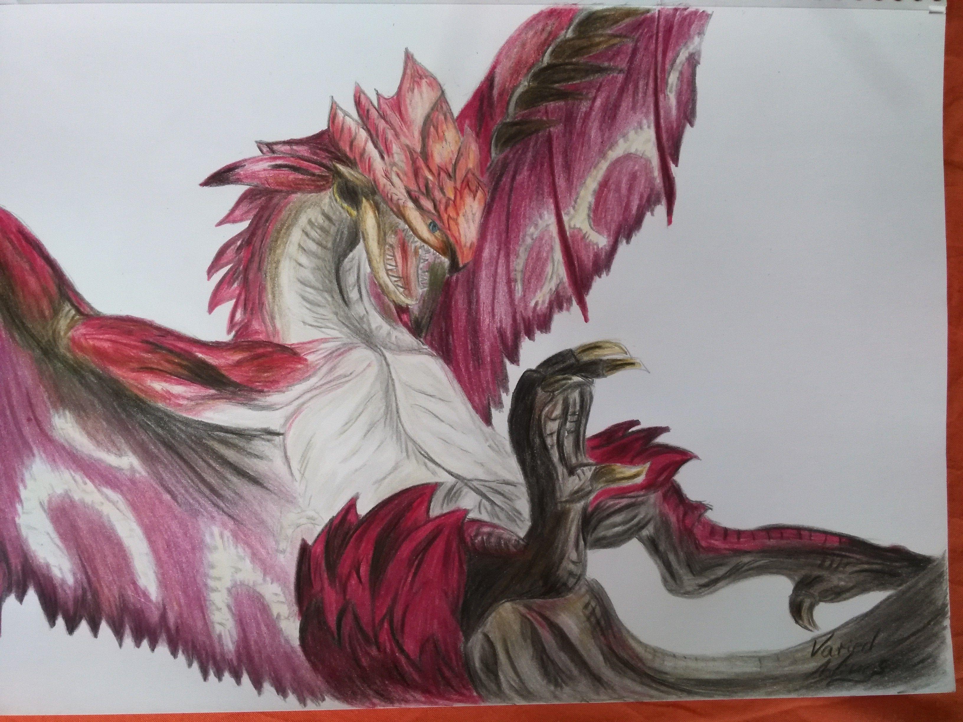 Rosa Rathian Faber Castell Polychromos Painting Monster Hunter Watercolor Artwork