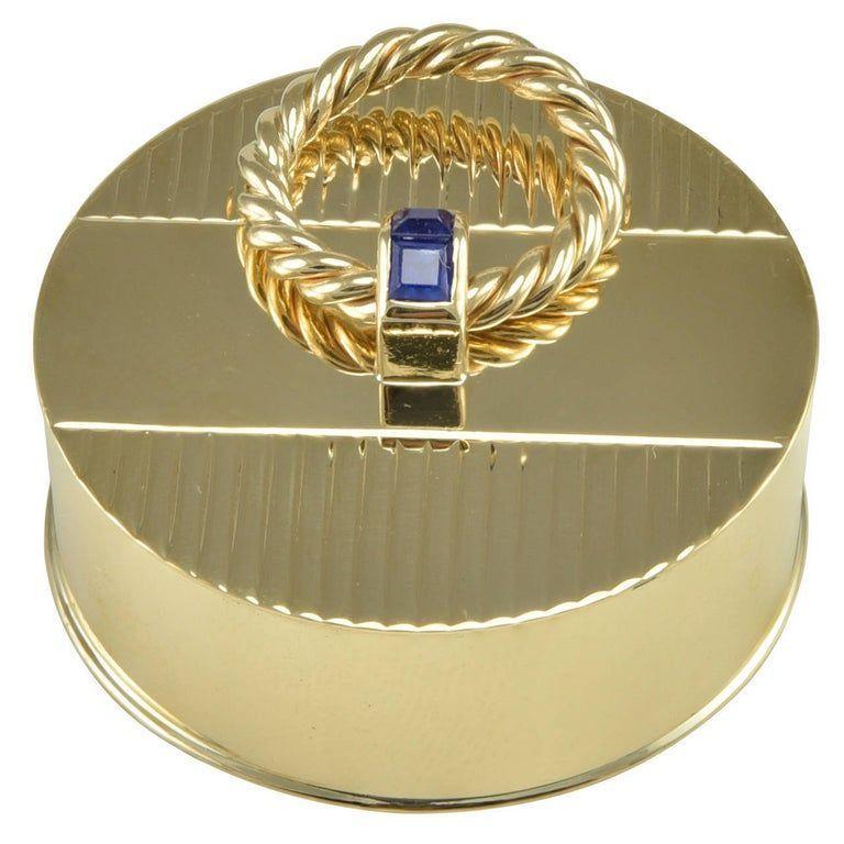 Cartier Sapphire Gold Round Engraved Pill Box  Cartier Sapphire Gold Round Engraved Pill Box