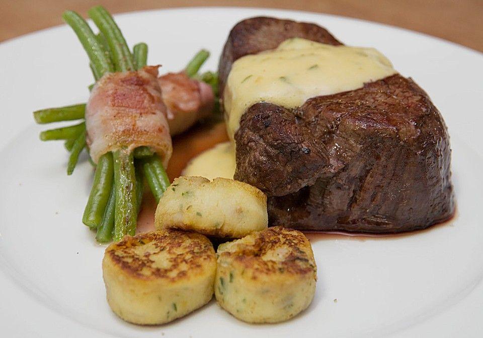 Chateaubriand mit Speckbohnen, Macaire - Kartoffeln und Sauce Béarnaise #sandwichrecipes