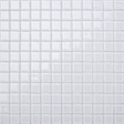 white glass mosaic tiling bathroom - Google Search
