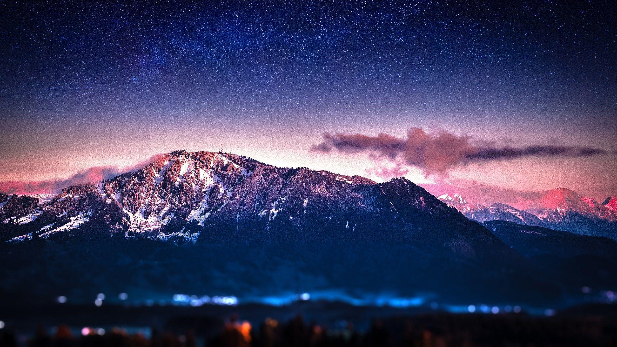 2560x1440 Wallpaper Images Mountain Space Art Mountain Wallpaper Night Landscape
