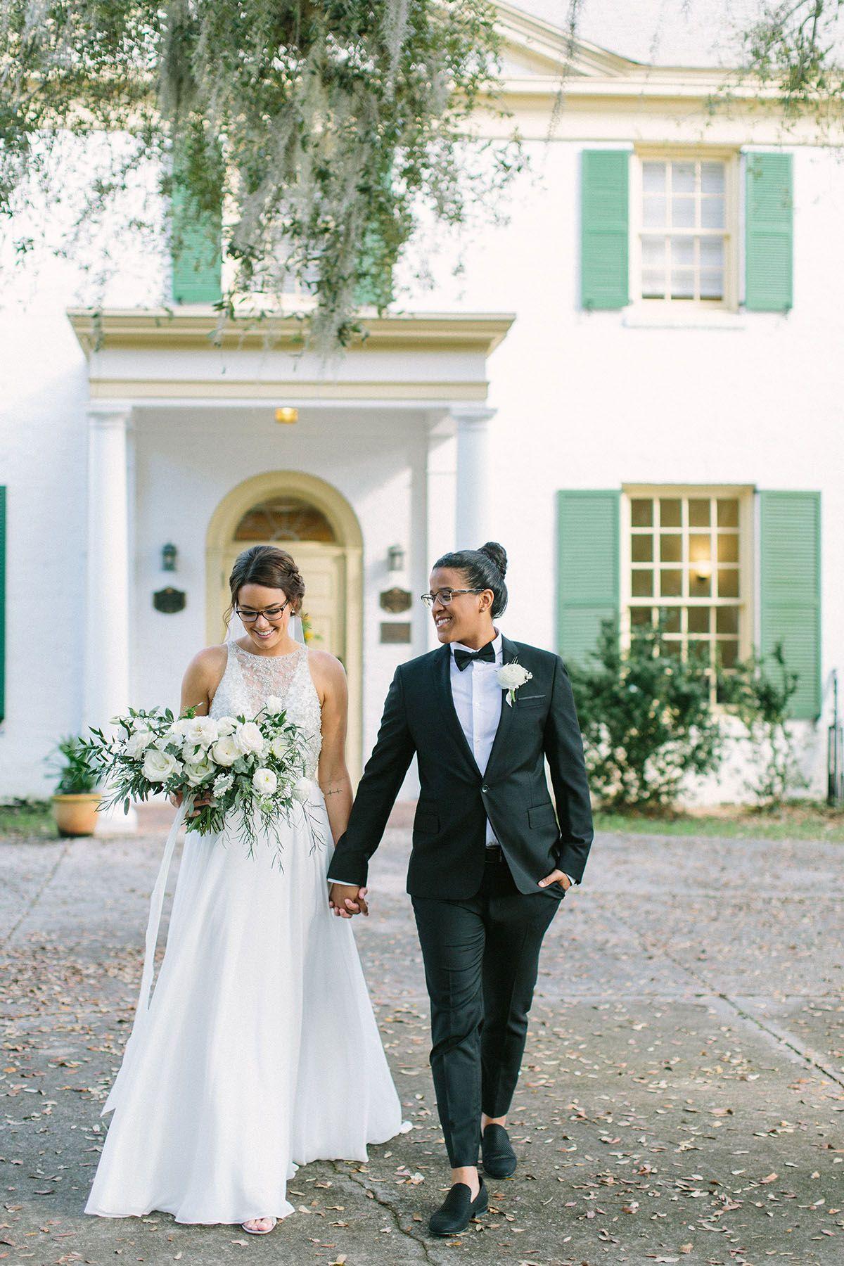 Modern Lush Greenery Wedding In Jacksonville Florida Wedding Wedding Styles Two Brides