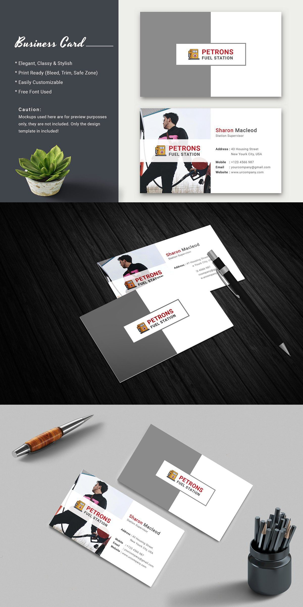 Fuel Station Business Card Business Cards Cards Free Font