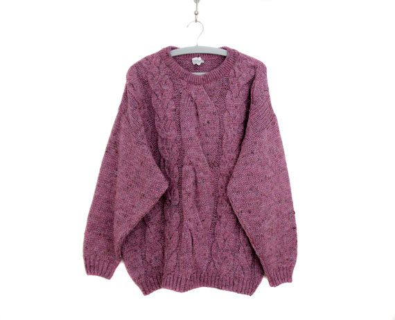 Vintage sweater // oversized pink speckled braided by Yugovicheva