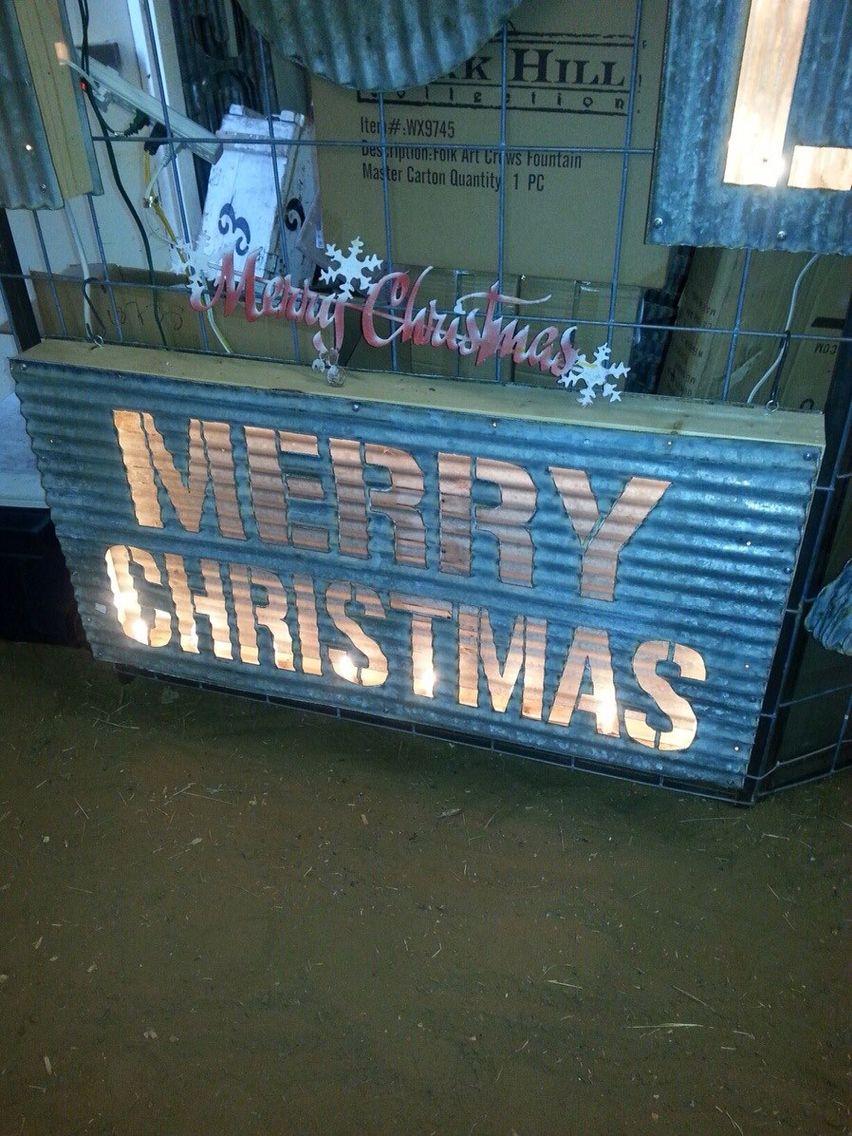 Corrugated Metal Merry Christmas Lighted Box Outdoor Christmas Presents Outdoor Christmas Exterior Christmas Lights