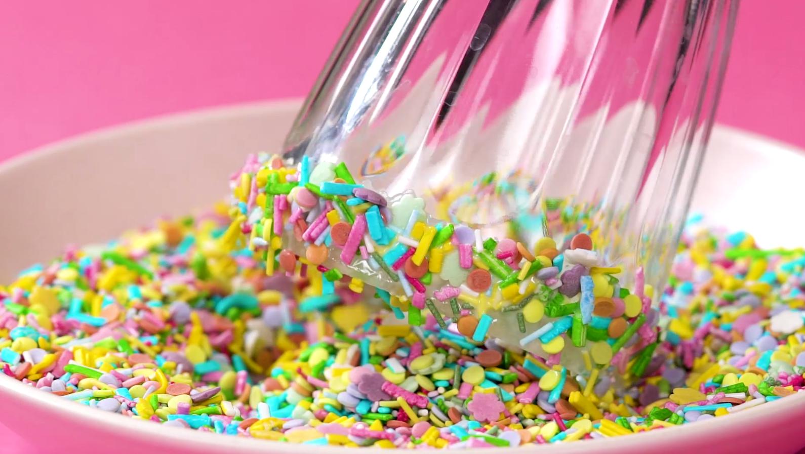Edible Rainbow Cupcake Cake Strands Jimmies Sprinkles Topper Decoration Unicorns