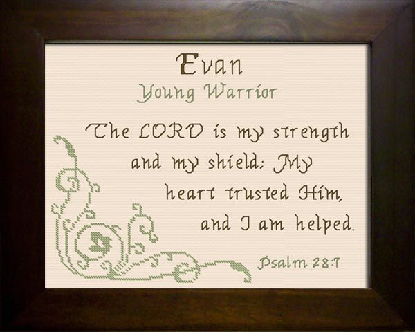 cross stitch evan with a name meaning and a bible verse cross