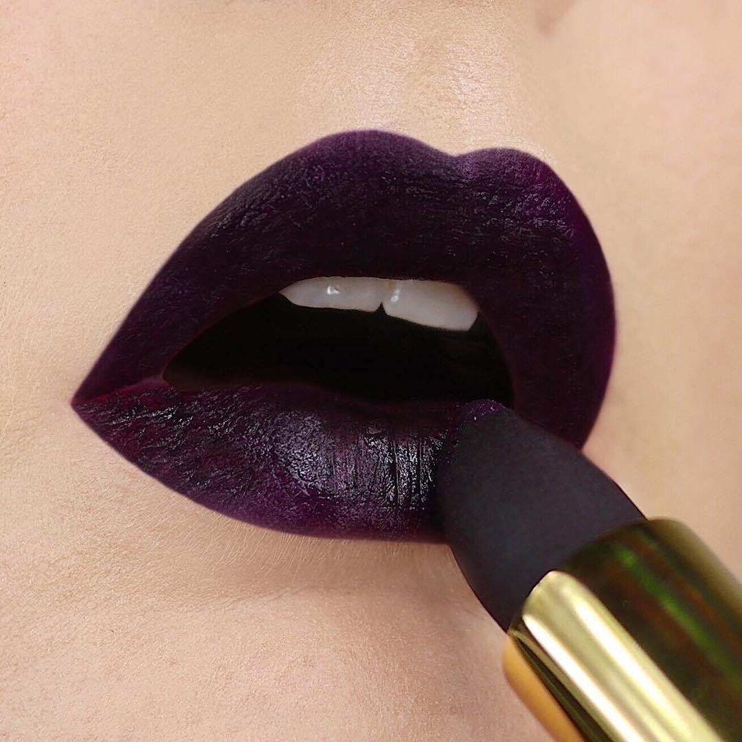 Deep purple lip color