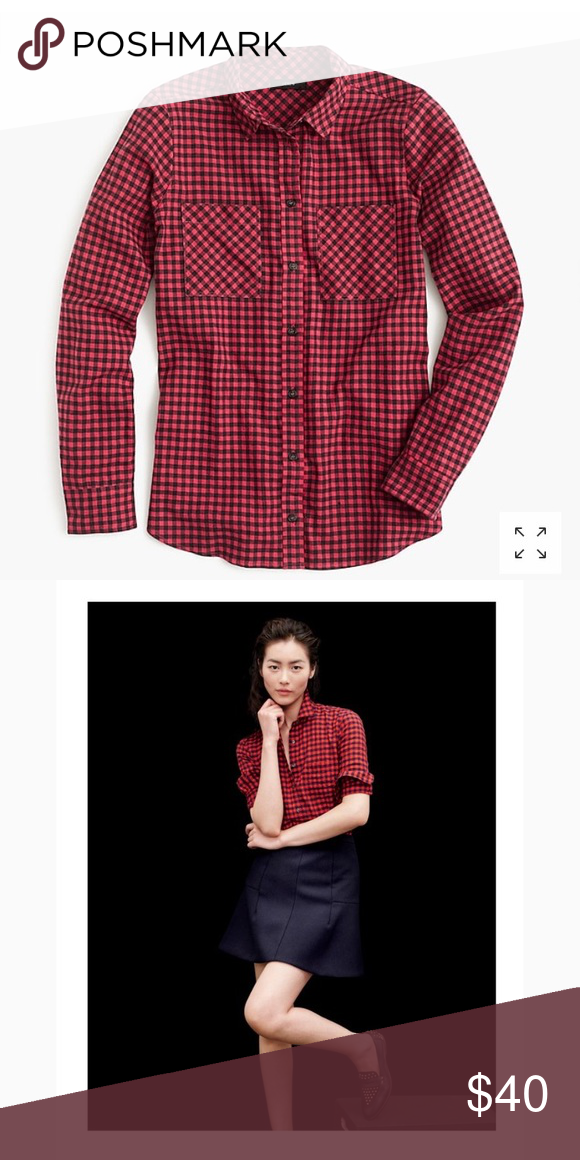 d6636918abe J. Crew Petite Shirt in Mini Buffalo Check Like your boyfriend s classic  flannel button-down but made just for you