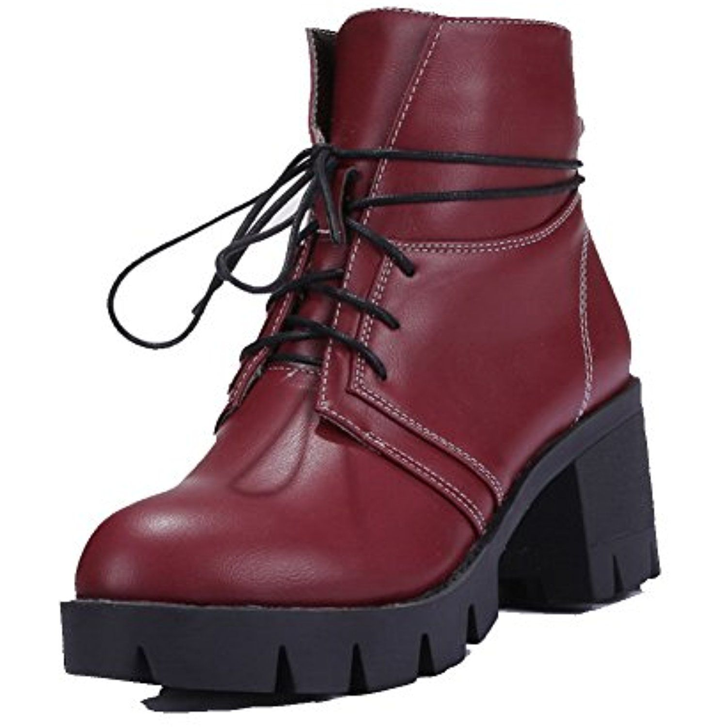 Women's Low-Top Solid Lace-up Round Closed Toe Kitten-Heels Boots