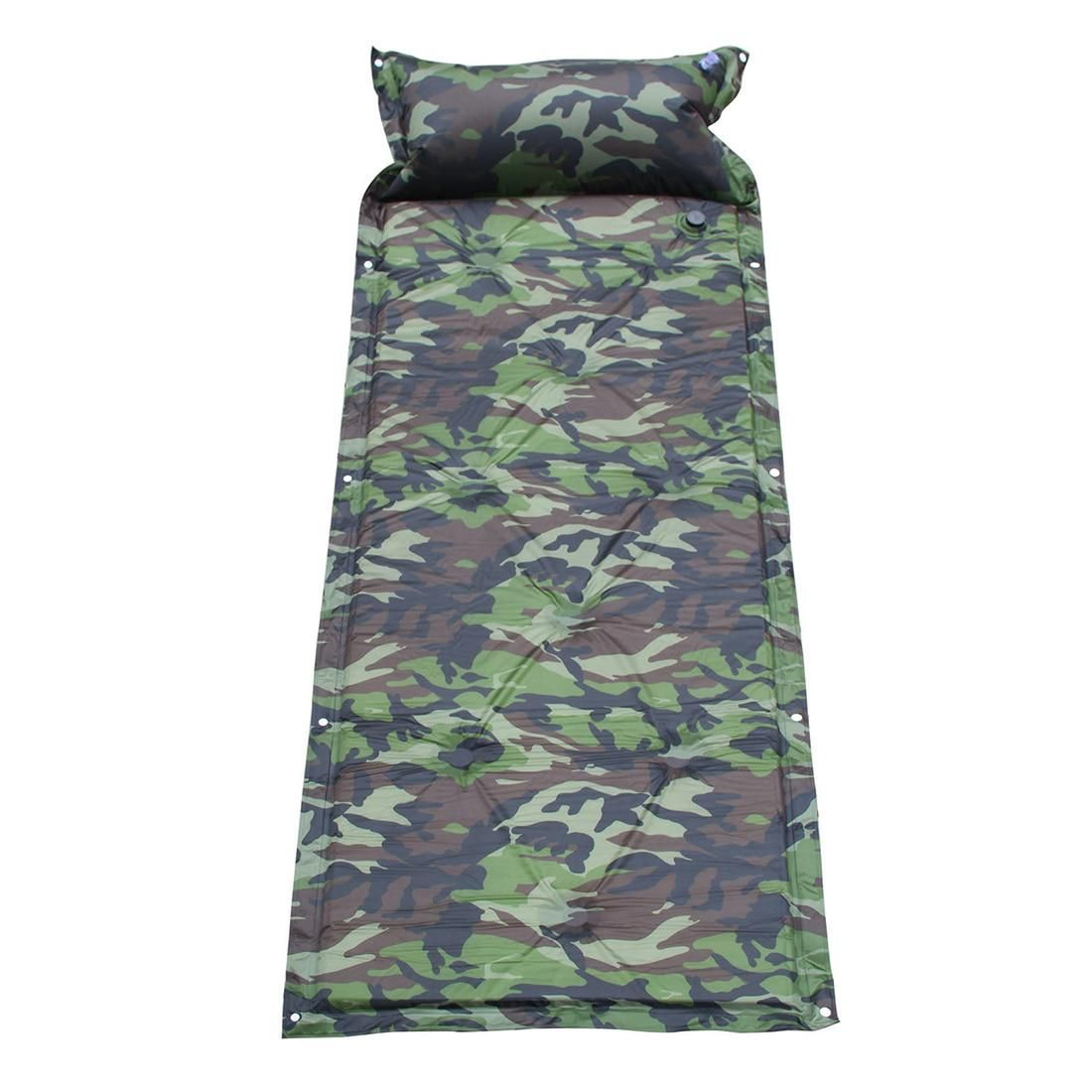 INFLATING CAMPING ROLL MAT PAD INFLATABLE PILLOW BED SLEEPING MATTRESS BAG