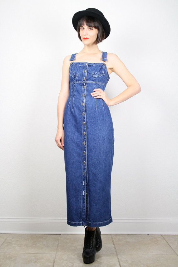 9910f98739f Vintage Overalls Dress Blue Denim Dress Blue Jean Dress Overall Maxi ...