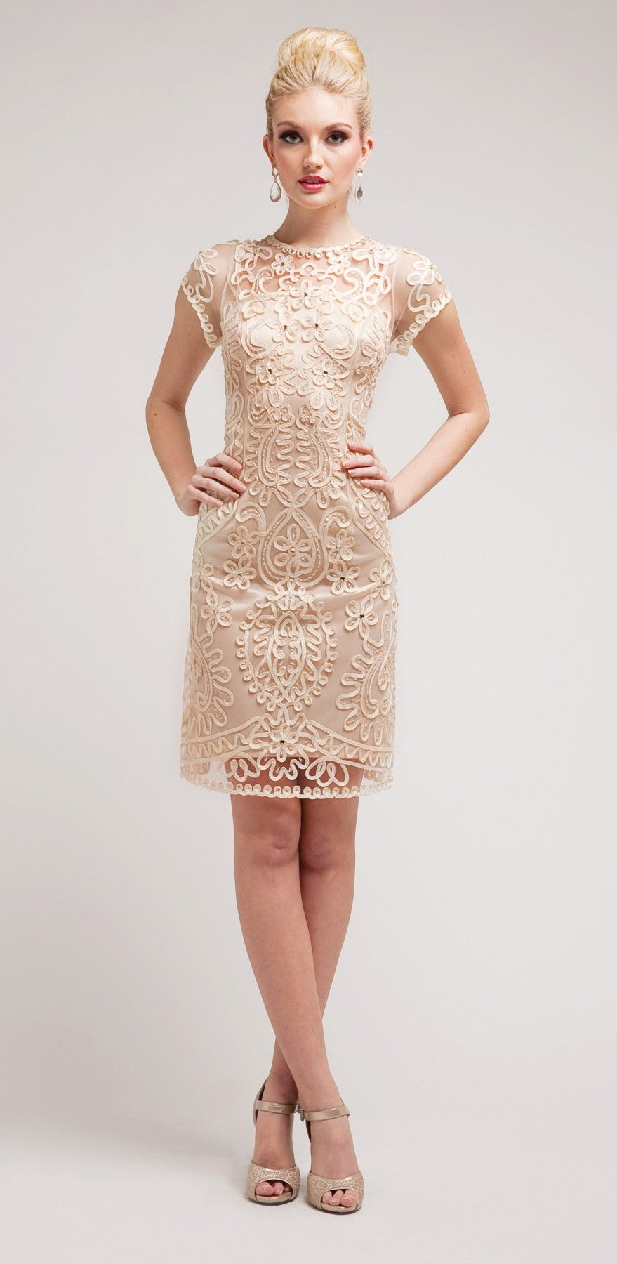 Knee Length Lace Cream Dress Semi Formal Short Sleeve $147.99 ...