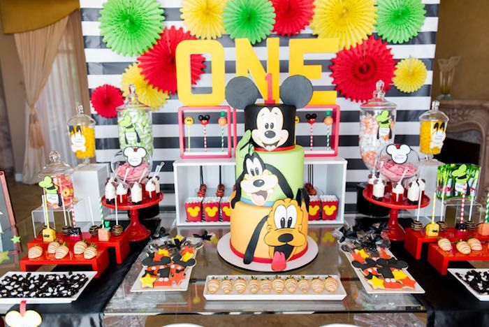dessert table from a mickey friends birthday party via karas party ideas karaspartyideas