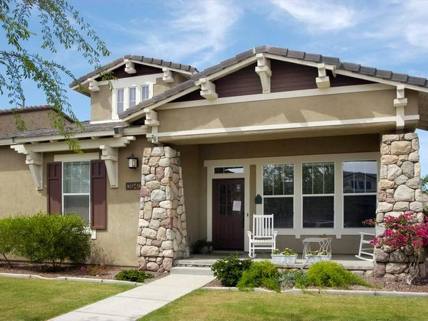 An American Staple : Craftsman architecture is notable for its practical design characteristics. The extended eaves and covered entry porch help reduce heat gain during the summer months when air conditioning requirements are highest. From HGTVRemodels.com
