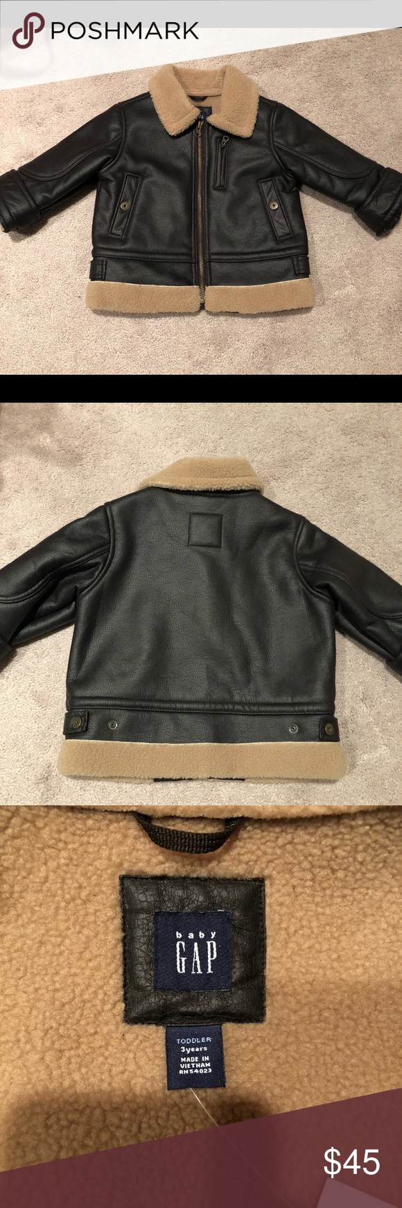 Baby Gap Leather Jacket Nwt Nwt Baby Gap Faux Dark Brown Leather Bomber Insulated Jacket Size 3t Button And Zip Pockets With C Leather Jacket Jackets Baby Gap [ 1740 x 580 Pixel ]