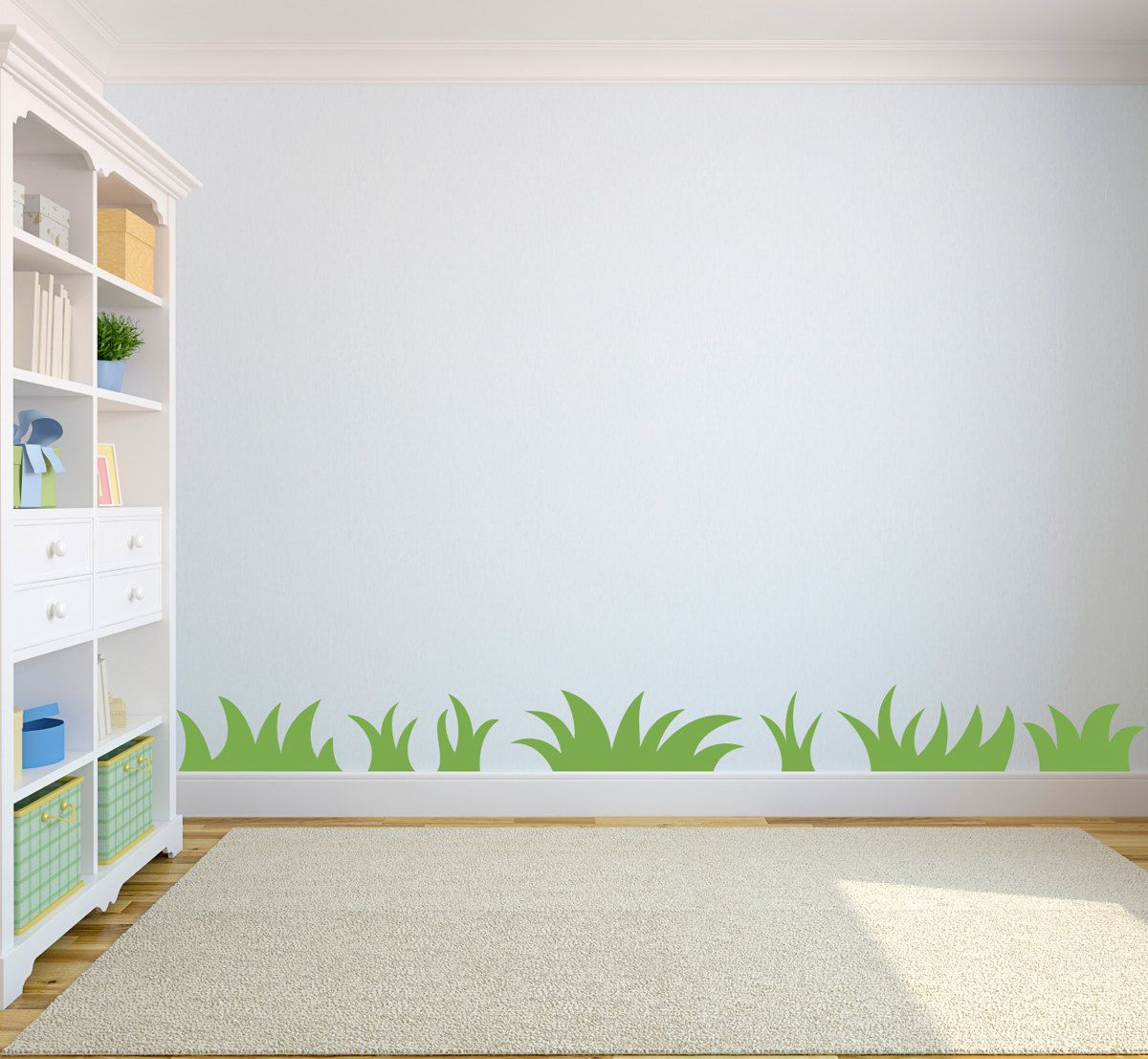 Grass wall decal nature wall art for kids bedroom set for Childrens bedroom wall designs