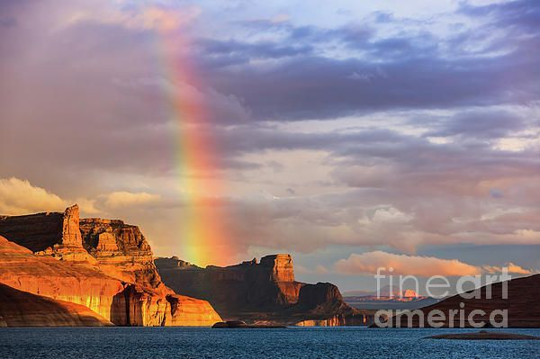 Rainbow Over Lake Powell by Henk Meijer Photography #utahusa Rainbow over the Padre Bay, from Cookie Jar Butte. Lake Powell, Utah, USA #utahusa