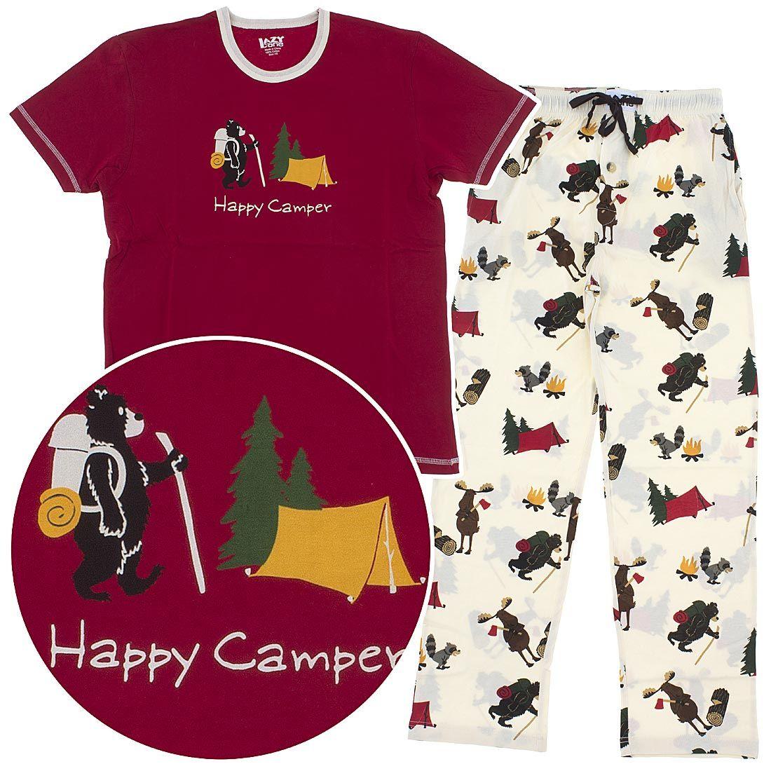 Lazy One Happy Camper Cotton Unisex Pajamas Lazy One