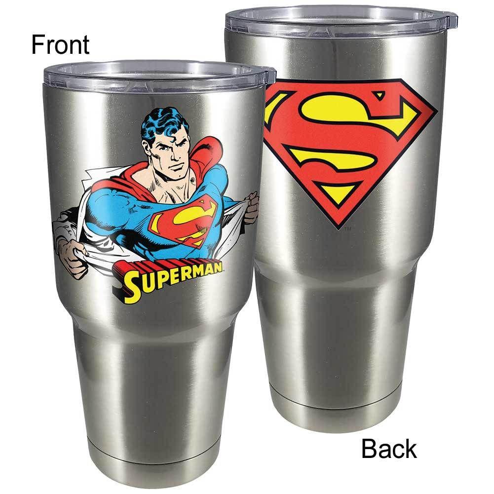 33d8e20dd1b Superman Logo 30-Oz Stainless Steel Travel Mug BPA-free w/ Sipping Lid
