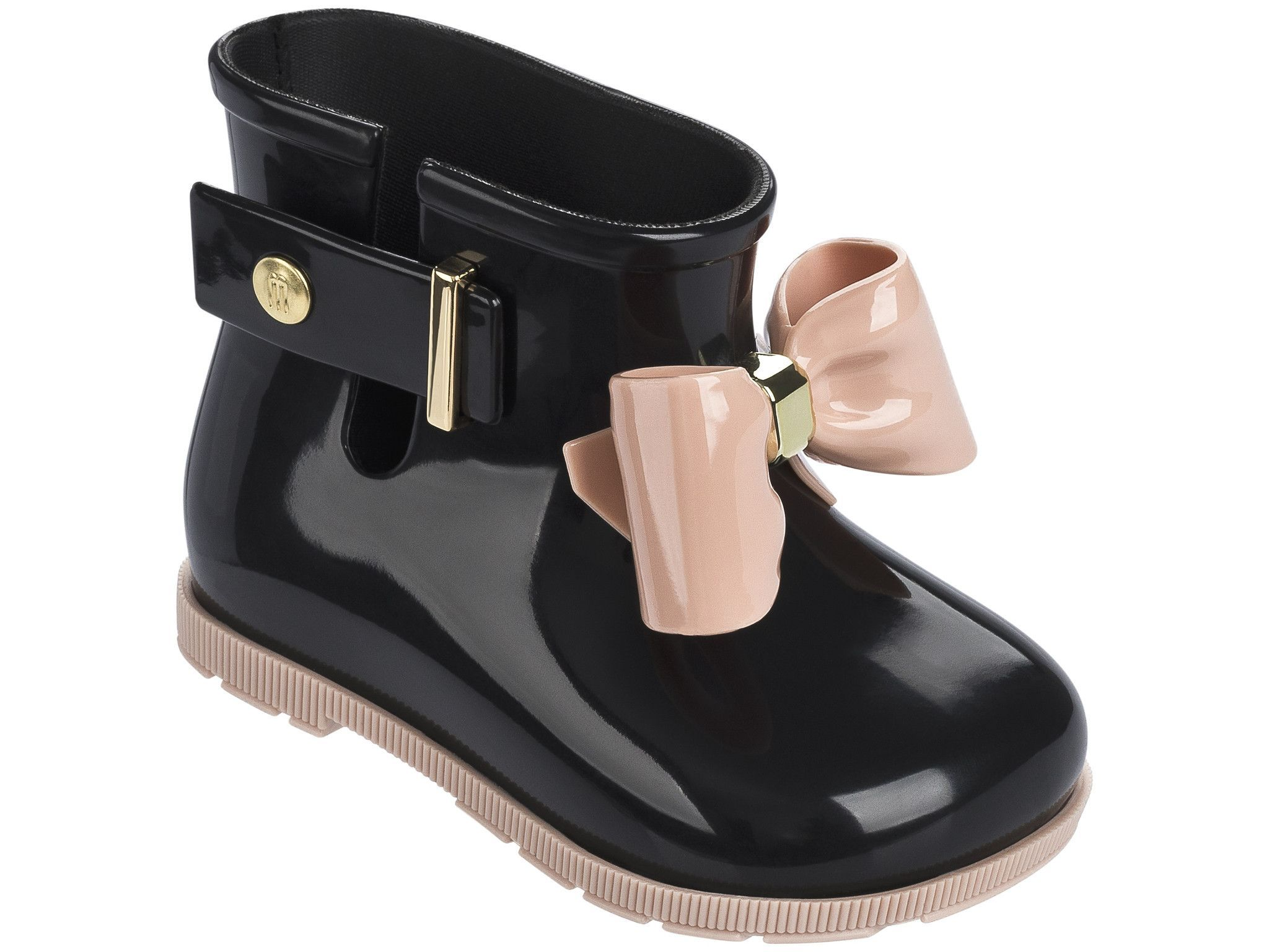 Mini Melissa Sugar Rain Bow Rain Boots Black