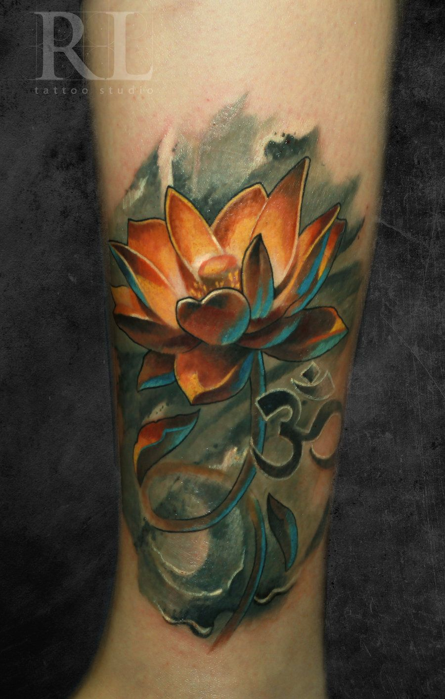 Omg By Black 3g Raven Lotus Flower With Om Symbol Asian Tattoos