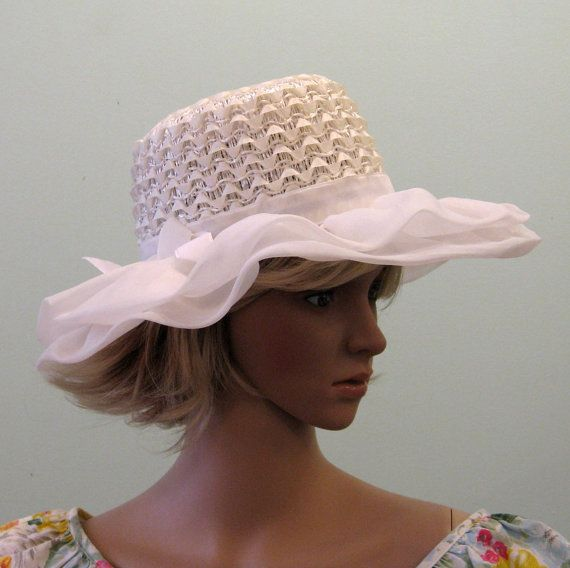 60s White RUFFLED ORGANZA Hat // Wide Brim by TravelingCarousel, $48.00