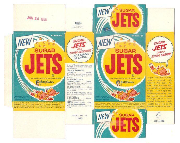 Old Vintage 1957 1958 1950s General Mills Sugar Jets Single Serve