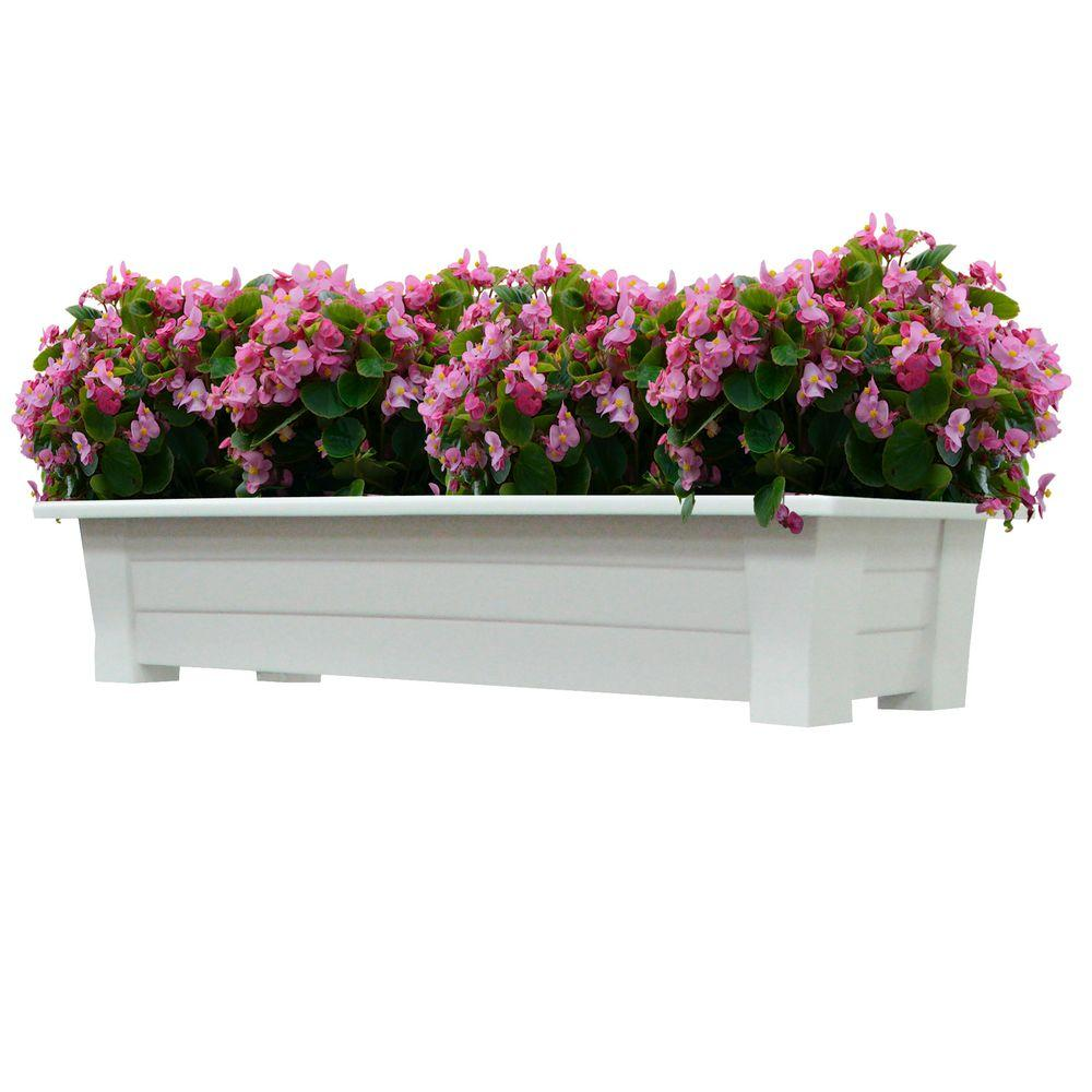 Adams Manufacturing 36 In X 15 In White Resin Deck Planter 9302 48 3700 The Home Depot Deck Planters Resin Decking Planters