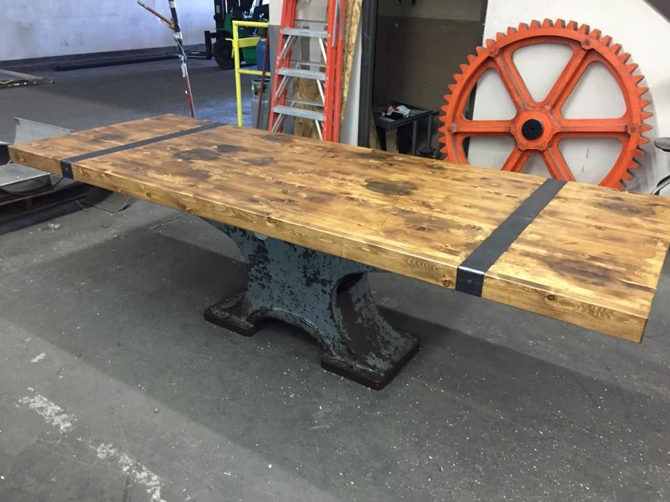 salvaged machine base with a cedar top by vintage industrial furniture