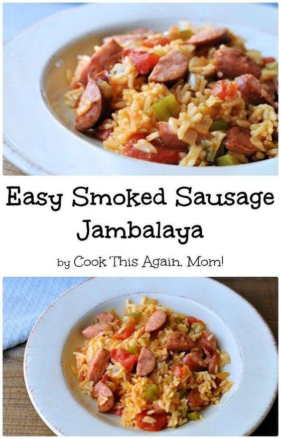 Easy Smoked Sausage Jambalaya | Cook This Again, Mom! #easysausagerecipes