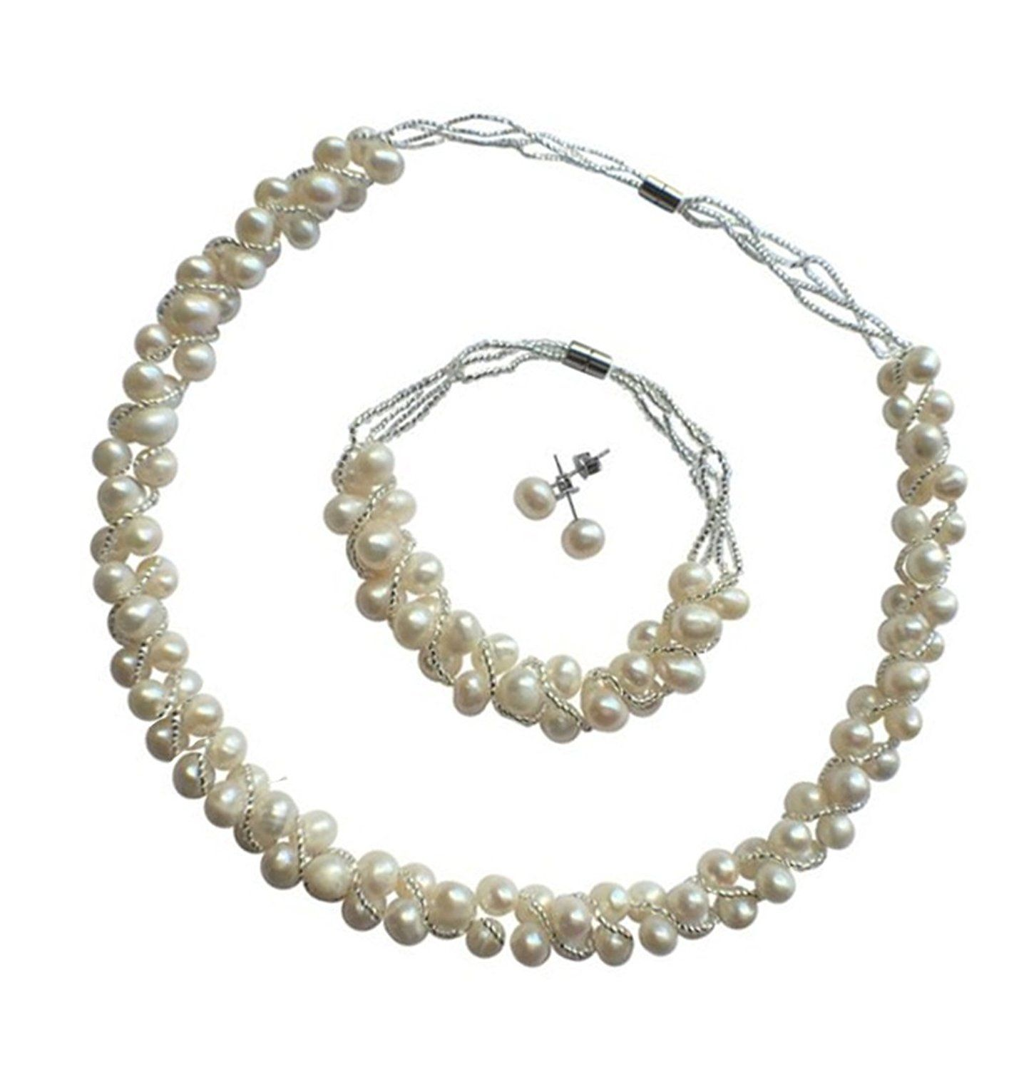 Treasurebay Elegant Natural Freshwater Pearl Jewellery Set Necklace Bracelet And Earrings With Magnetic Clasps