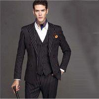 2017 nové černé svatební bílé Pinstripe muži oblek Peaked Lapel Terno  mužské Slim Fit Blazer mužské formální obchodní pánské obleky Set 6433a3bea1