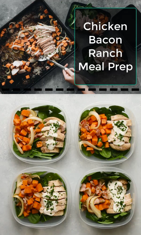 Whole30 Chicken Bacon Ranch Meal Prep images