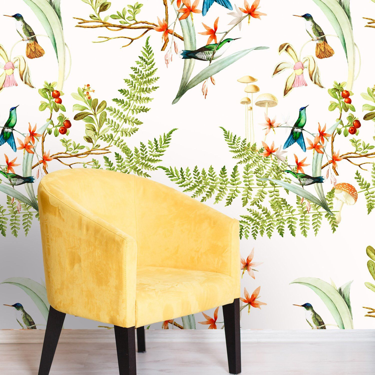Woodland Hummingbird Removable Wallpaper, Peel and Stick