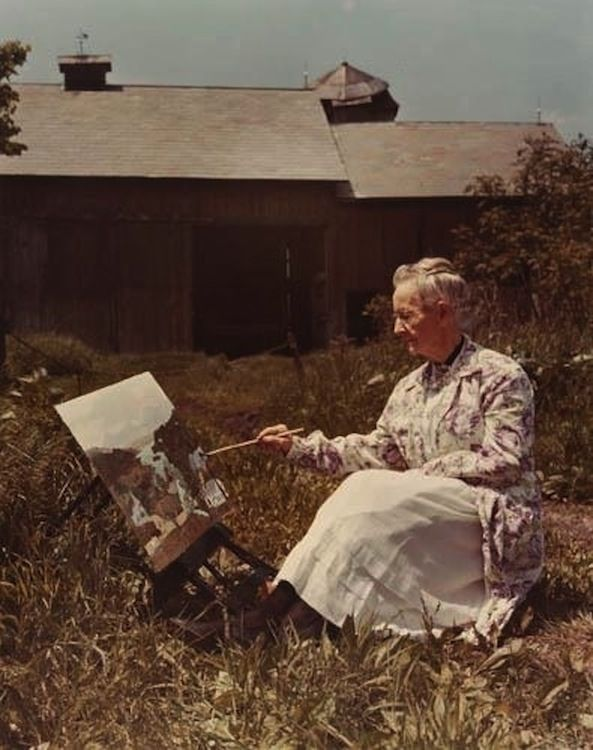 Grandma Moses Painting A Landscape United States 1950