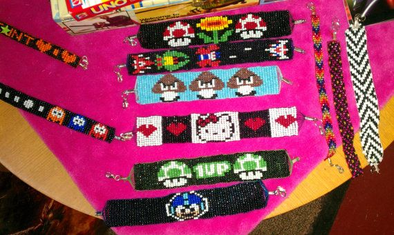 Zelda Triforce Link Nerd seed bead bracelet by Pyroteeze on Etsy