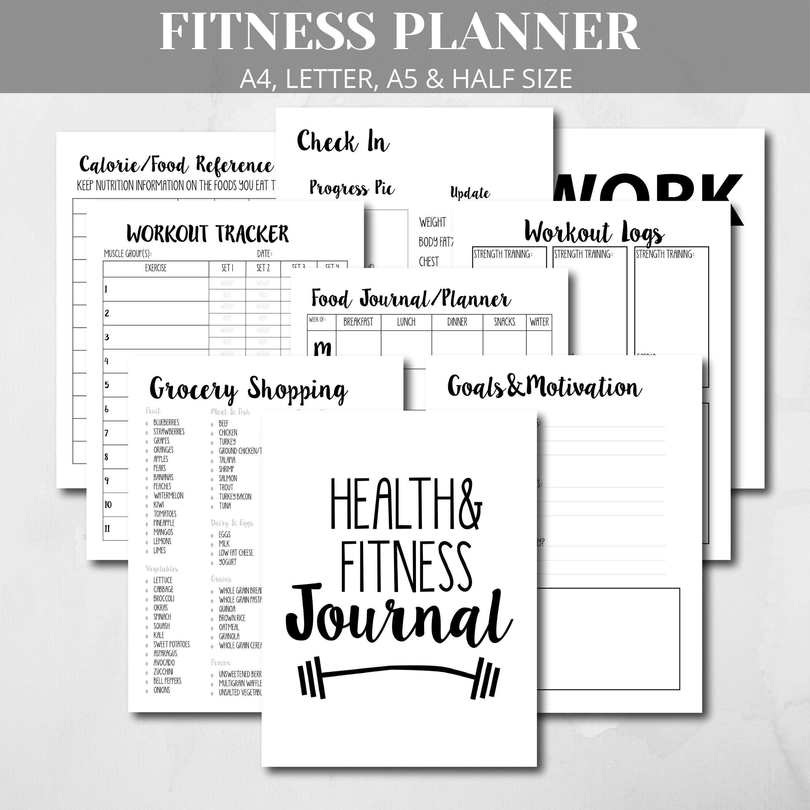 Fitness Planner Printable, Health Fitness Workout Log, Workout Planner, Fitness Journal, Weight Loss Planner, Health Tracker A4, A5 Letter