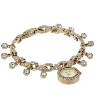 Anne Klein Charm Bracelet Watch Ak 1456chrm Womans Gold