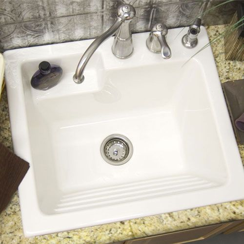 White Single Basin Acrylic Laundry Sink Corstone Industries