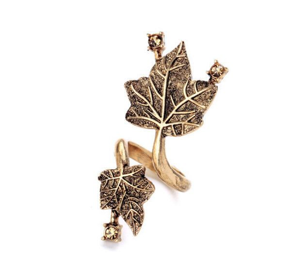 Size 6 Fashion Vintage Maple Leaf Distorted Crystal Club Women Open Ring Quality…