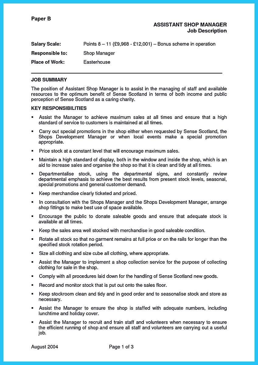 Retail Assistant Manager Resume Awesome Store Assistant Manager Resume That Can Bag You  Resume