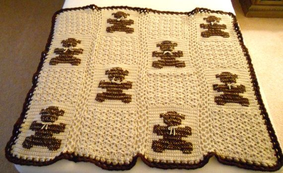 Brown Crocheted Teddy Bear Baby Afghan by thecrafter on Etsy