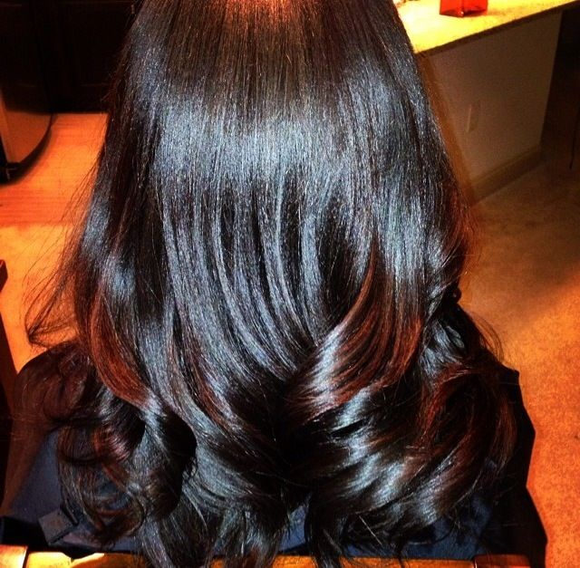 Back view. Sew in with minimal leave out, soft layers and loose curls.