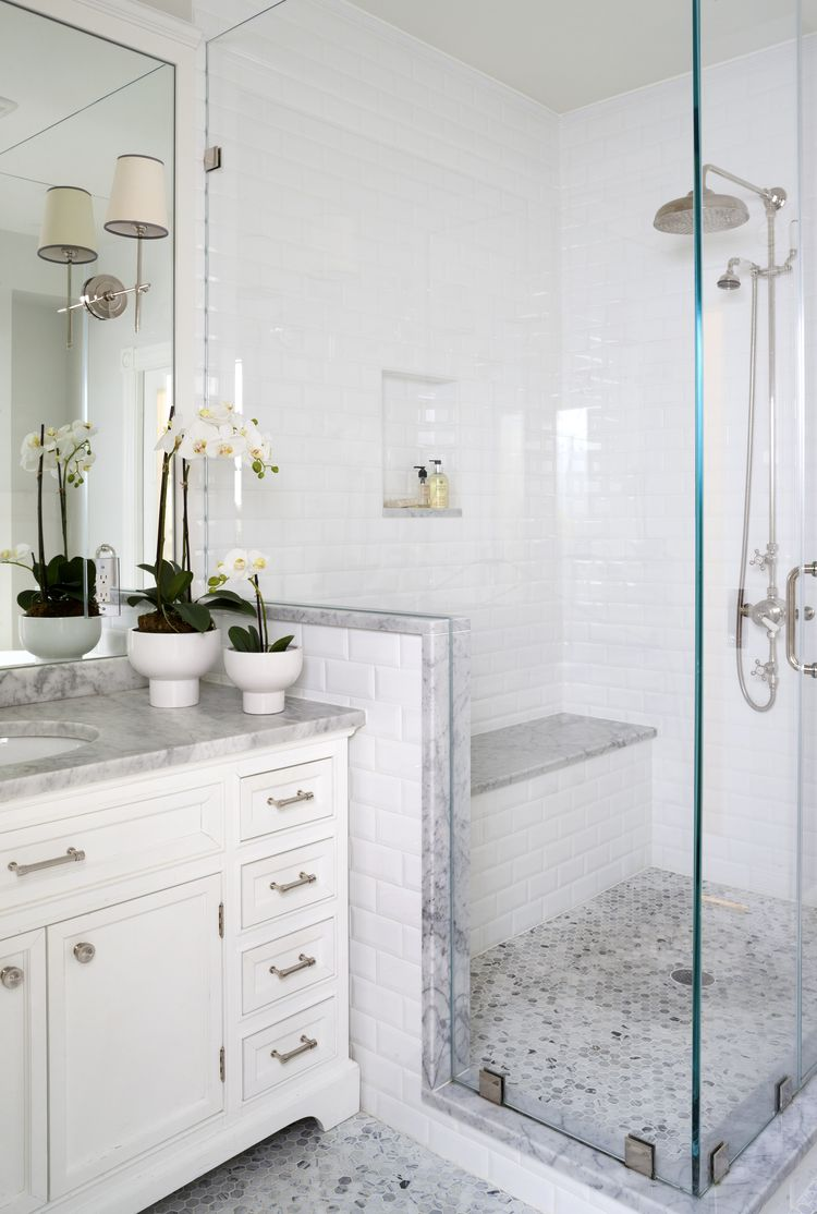 Craig I like the white tile with the marble trim for the downstairs ...