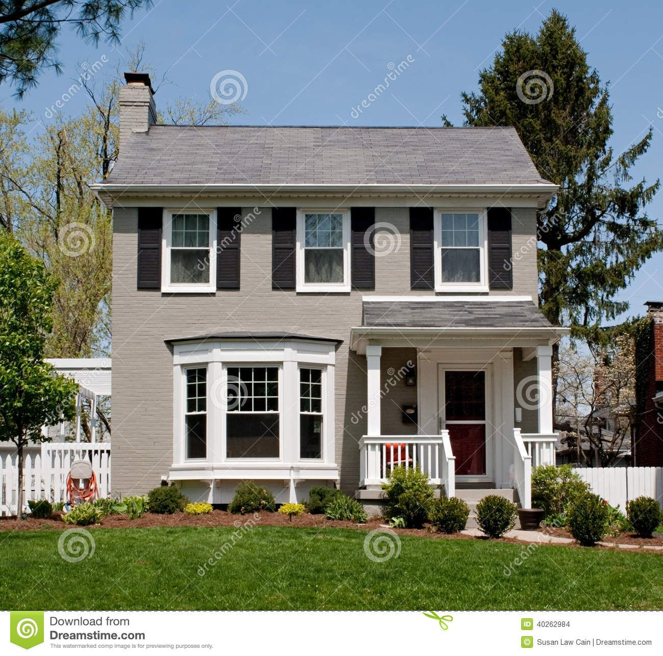 Exterior Paint Contemporary House Colors Design Software: Gray Painted Brick House With Bay Window