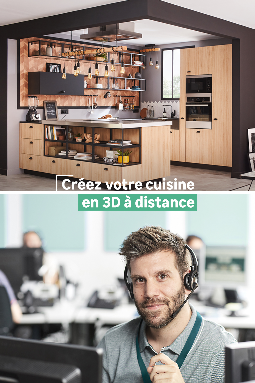 Modelisez Votre Future Cuisine En 3d Avec Un De Nos Conseillers Par Telephone Vous Pourrez Choisir La Place Des En 2020 Cuisine Blanche Et Bois Site Meuble Cuisine 3d